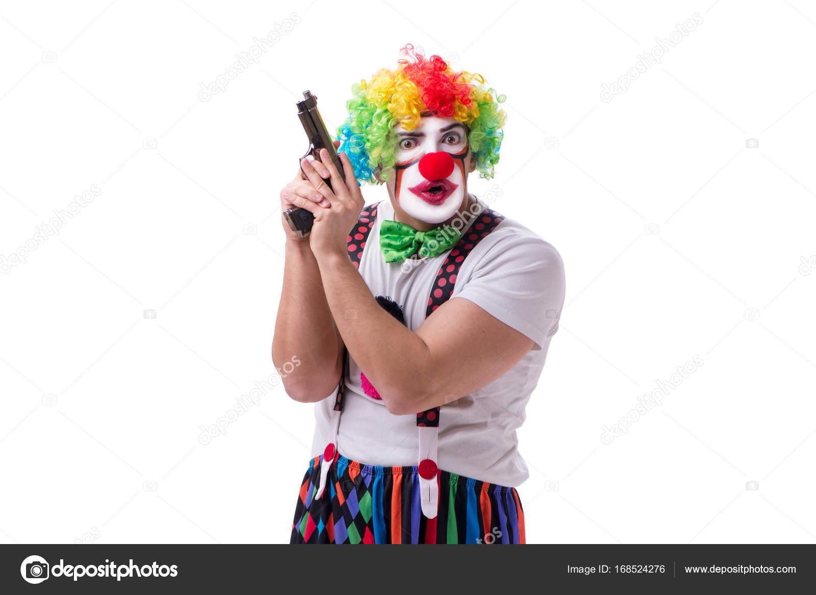lustiger clown mit einem gewehr pistole isolierten auf wei en hintergrund stockfoto elnur. Black Bedroom Furniture Sets. Home Design Ideas
