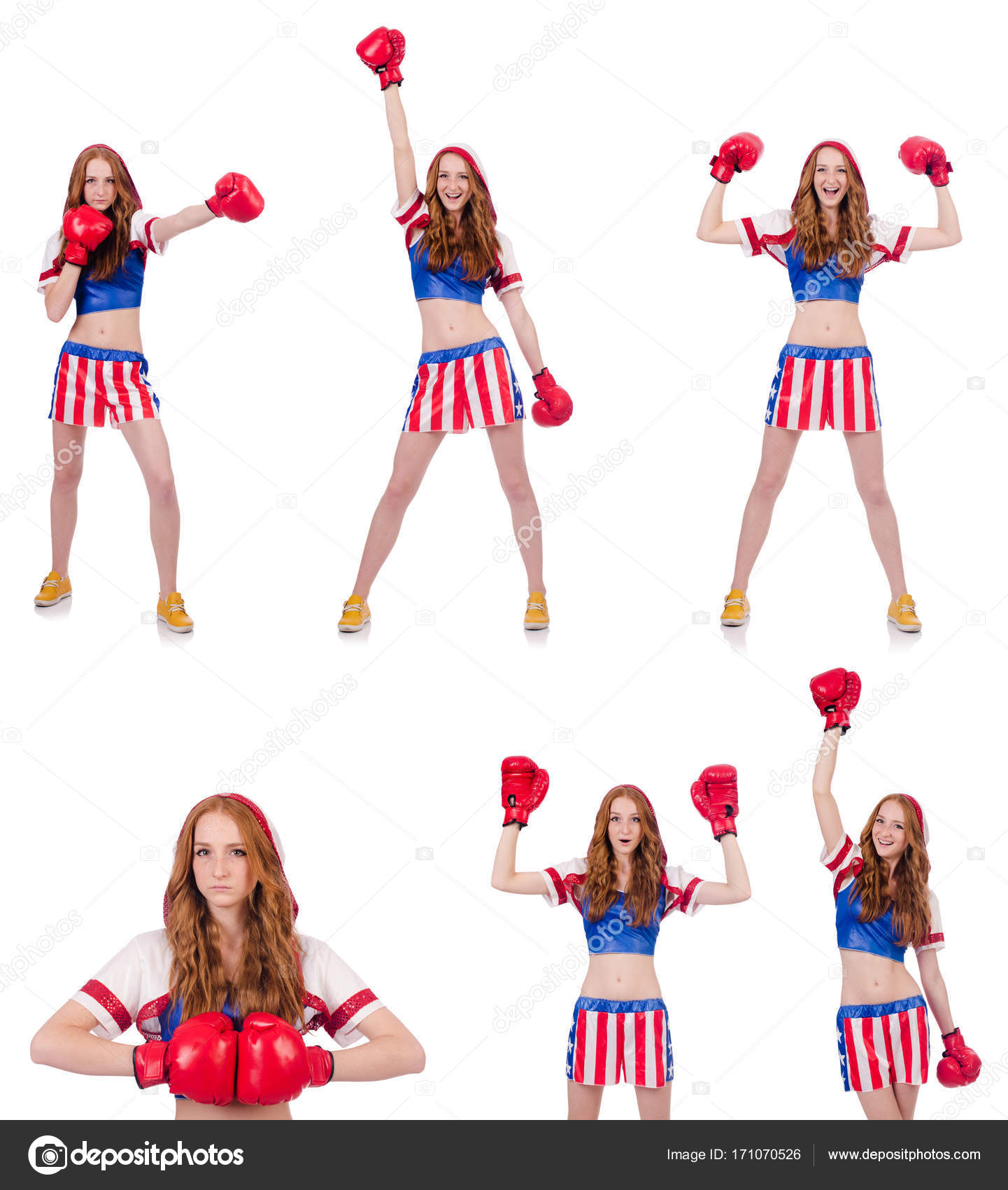 Woman Boxer In Uniform With Us Symbols Stock Photo Elnur 171070526