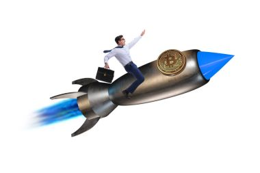 Businessman flying on rocket in bitcoin price rising concept stock vector
