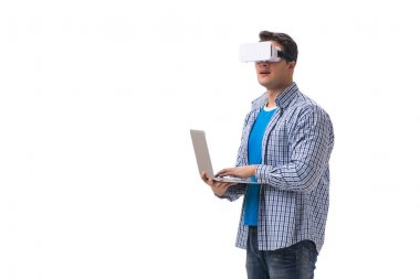 Young man wearing virtual reality VR glasses