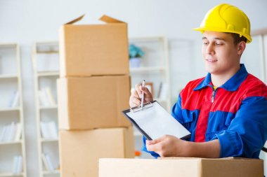 Young man working in relocation services with boxes stock vector