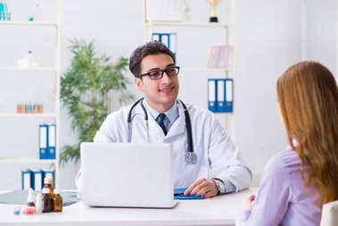 Patient visiting doctor for medical check-up in hospital