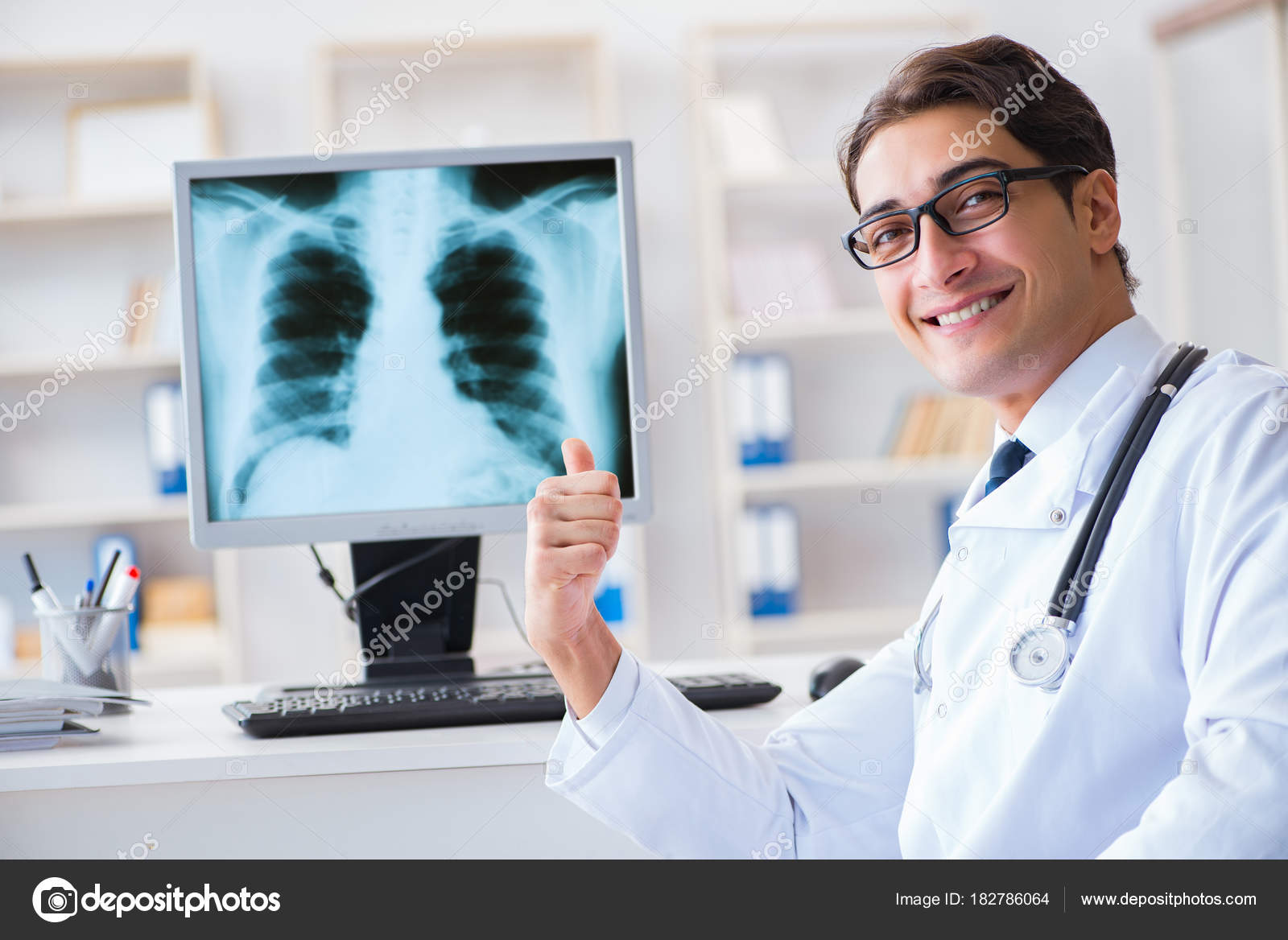 Doctor Radiologist Looking At X Ray Images Stock Photo Elnur