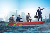 Fotografie Team von Geschäftsleuten in Teamarbeit Konzept mit Boot
