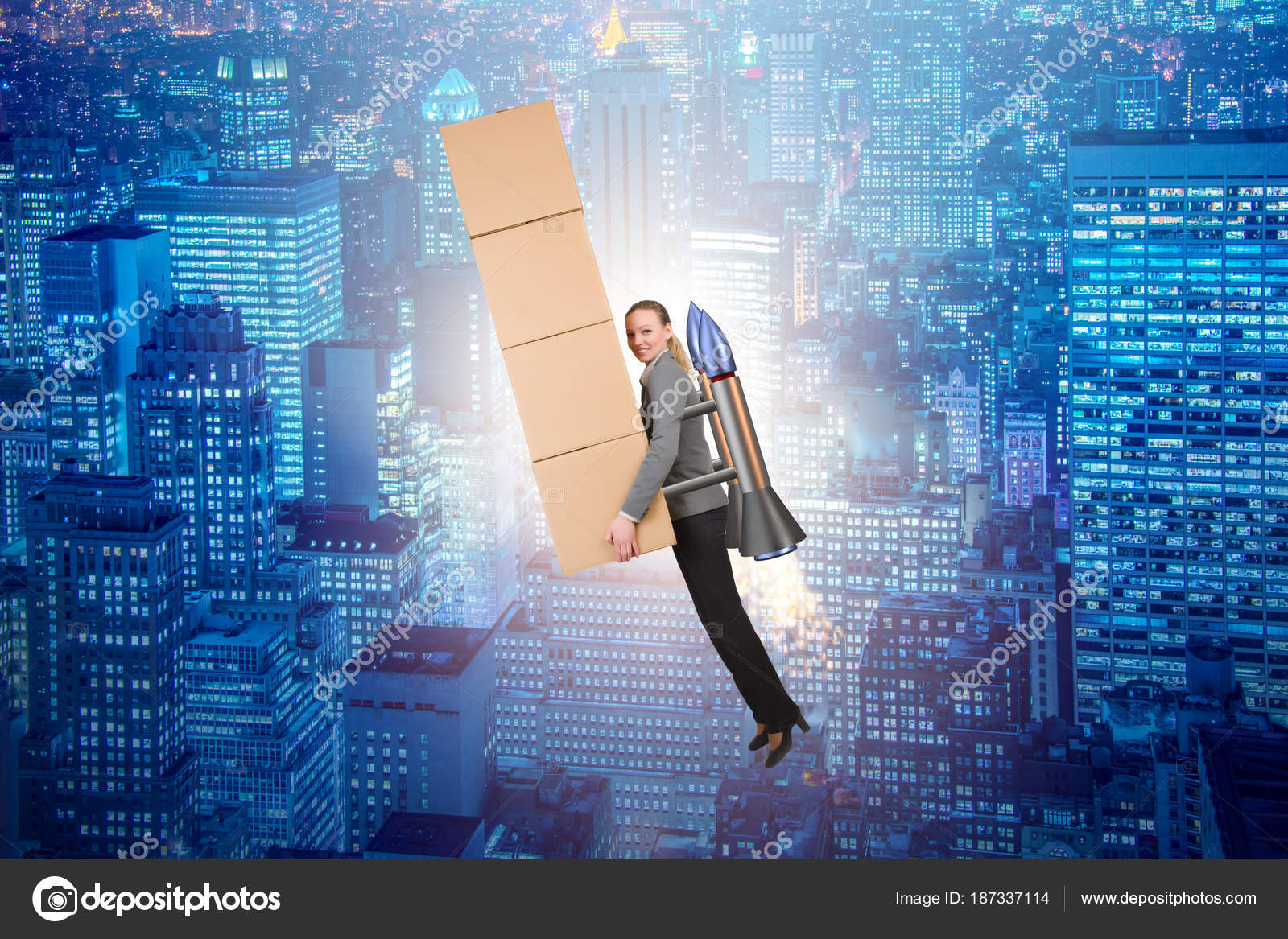 Woman in fast box delivery service on rocket — Stock Photo