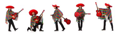 Mexican in vivid poncho holding guitar isolated on white