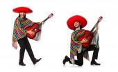 Mexikanisch in lebendige Poncho hält Gitarre isoliert auf weiss