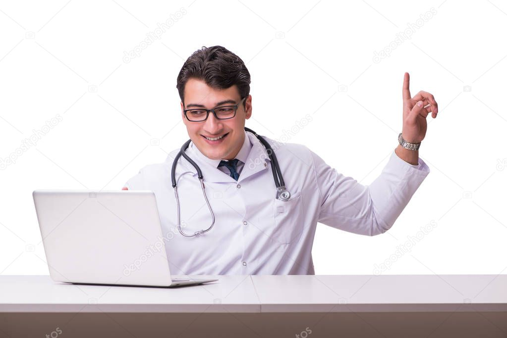 Doctor in telemediine mhealth concept on white stock vector