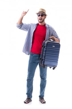 Young man ready for summer travel isolated on white stock vector