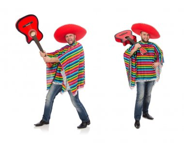 Funny mexican with guitar isolated on white