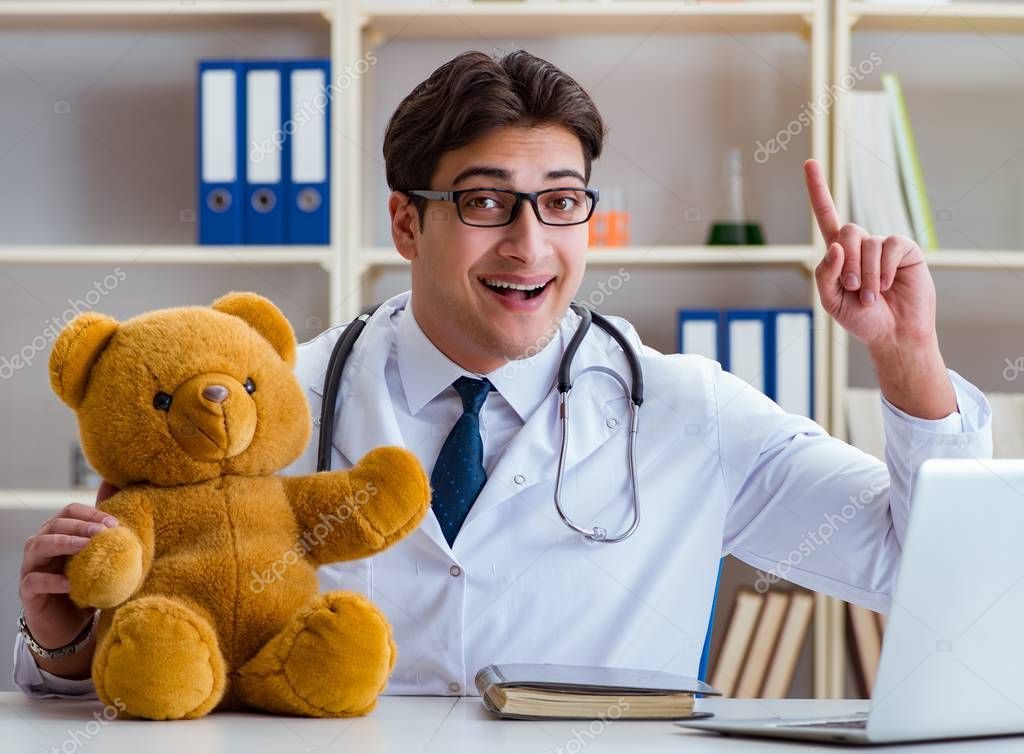 Doctor veterinary pediatrician holding an examination in the office with a teddy bear stock vector