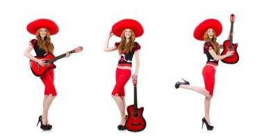 Woman guitar player with sombrero on white