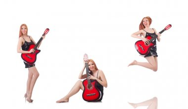 Female guitar performer isolated on white