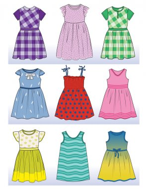 set with beautiful dresses for little girls