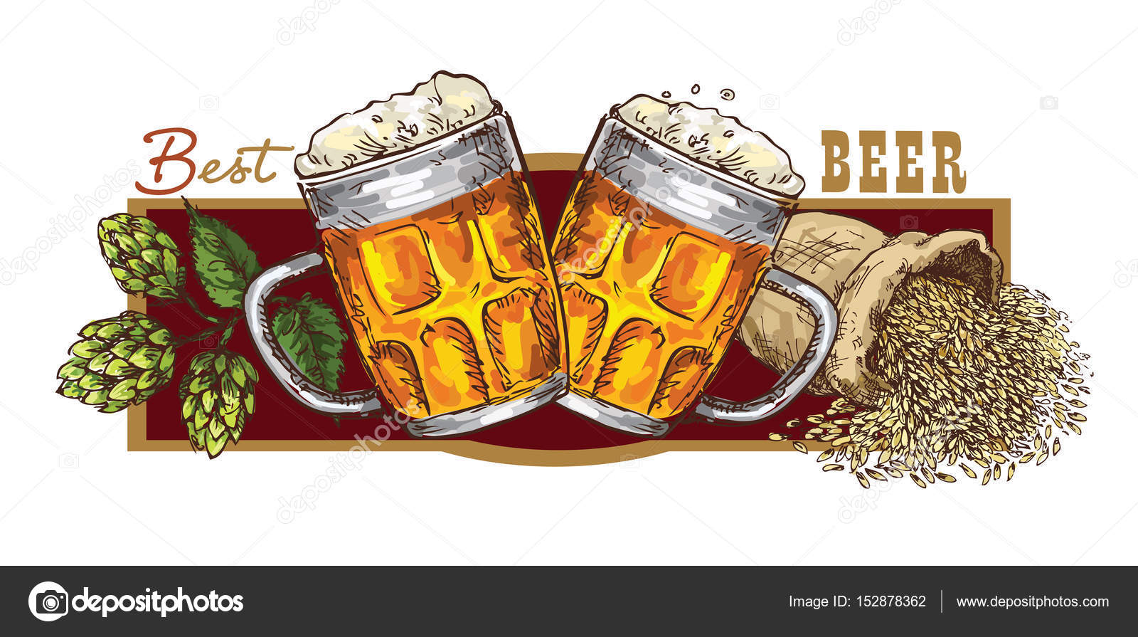 hand drawing beer banner stock vector grafnata 152878362