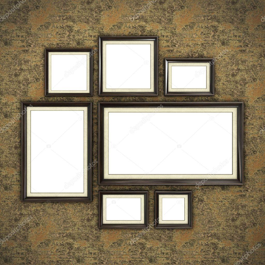 Marco de madera en papel pintado — Fotos de Stock © Irochka #125384354