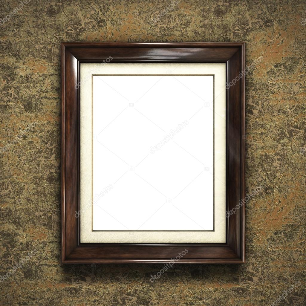 Marco de madera en papel pintado — Foto de stock © Irochka #125745824