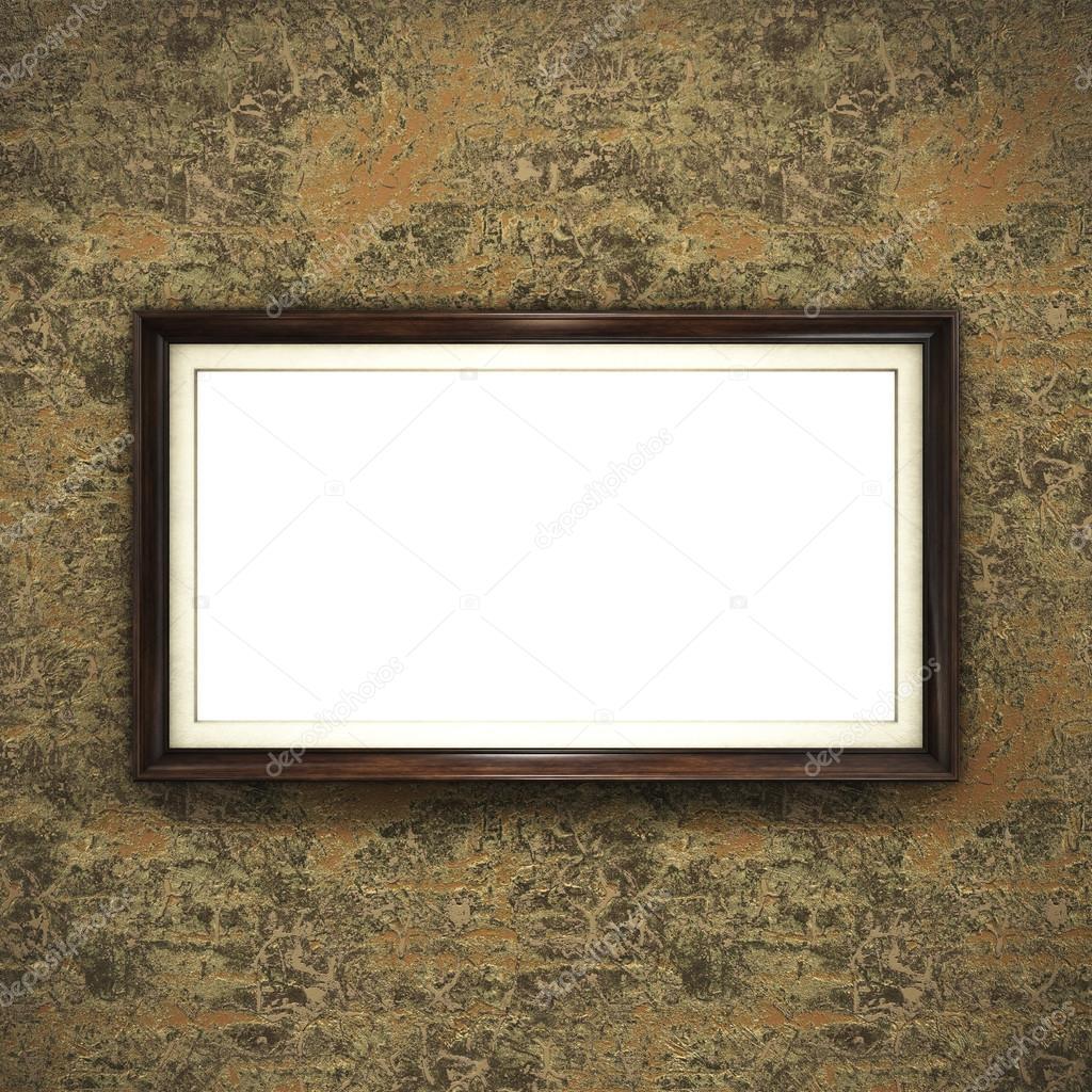 Wooden frame on color wallpaper — Stock Photo © Irochka #125862070