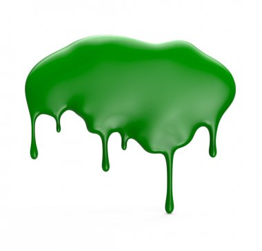 Green paint dripping isolated over white background