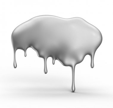 Gray paint dripping isolated over white background