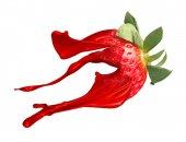 Červené jahody s Malování splash