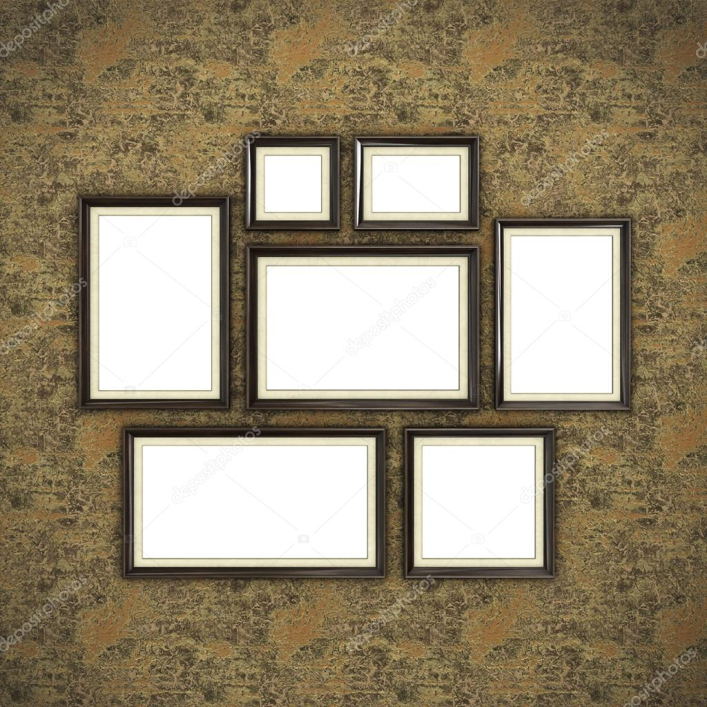 Wooden frame on color wallpaper — Stock Photo © Irochka #128193678