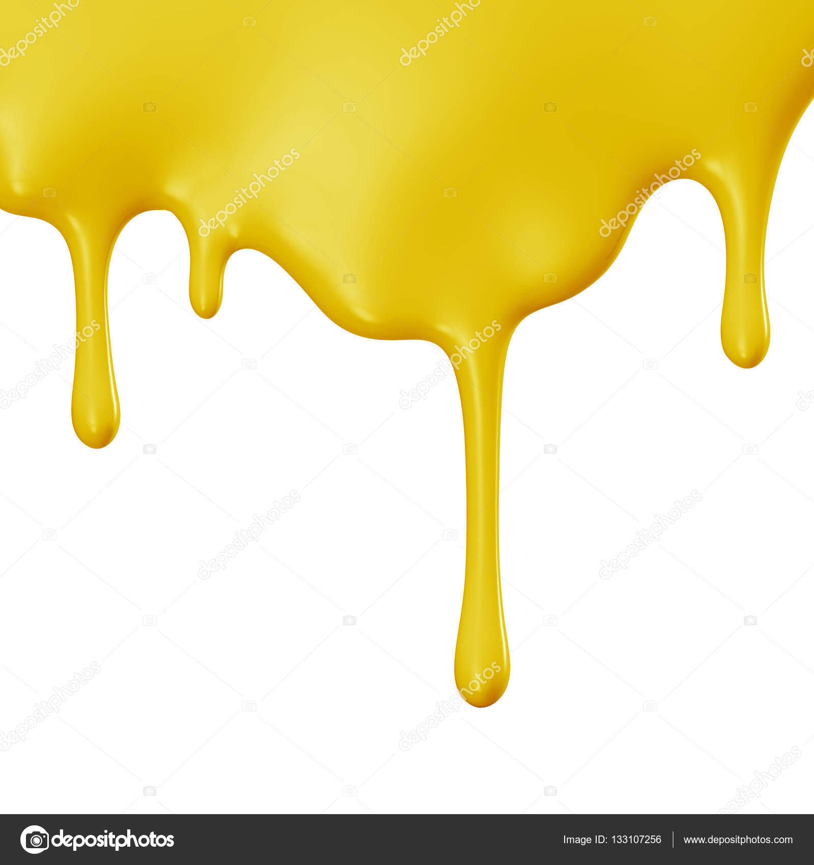 Yellow Paint Yellow Paint Dripping Isolated Over White Background  Stock Photo