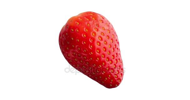 Detailní záběr čerstvé červené jahody ovoce izolované
