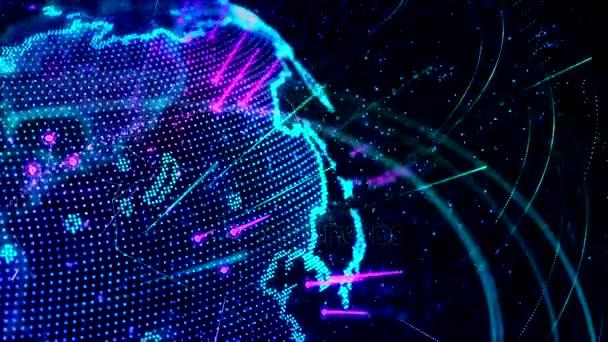 3D animace rostoucí sítě po celém světě - modrá verze