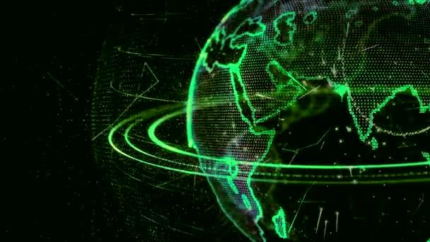 3D-Animation eines wachsenden Netzwerks auf der ganzen Welt - grüne Version