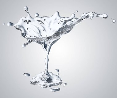 3D rendering of the martini glass with water drops