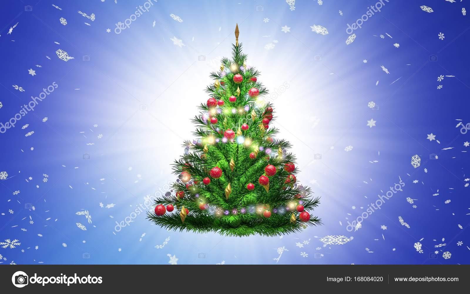 Rbol de navidad verde sobre fondo azul con copos de nieve for Arbol de navidad con bolas rojas