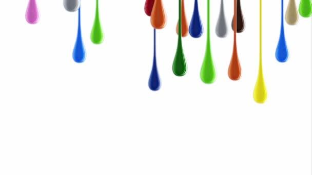 3D bunte, glänzende Farbkleckse tropfen herunter