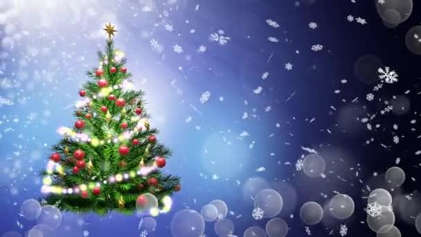 3D obrázek zelený vánoční stromeček modré pozadí s sněhové vločky a