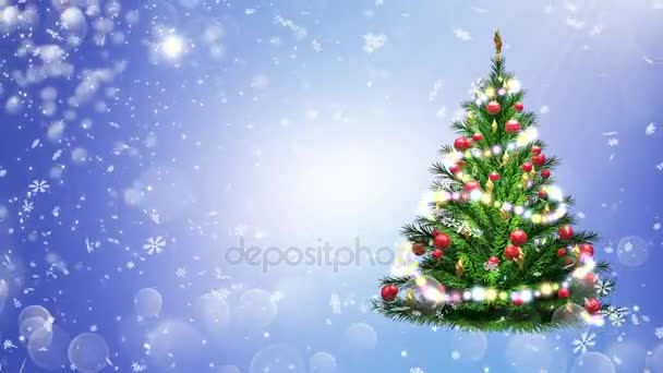 3d illustration of green Christmas tree over blue background with snowflakes and