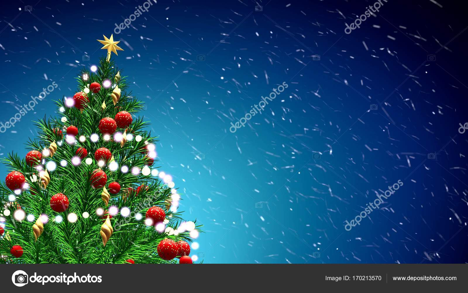 3d Illustration Of Green Christmas Tree Over Blue Background With Snowflakes And Red Balls Stock Photo Image By C Irochka 170213570