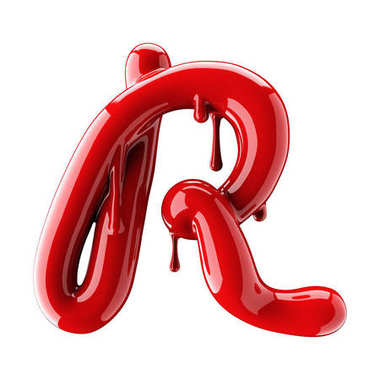 3D render of red alphabet make from nail polish. Handwritten cursive letter R. Isolated on white