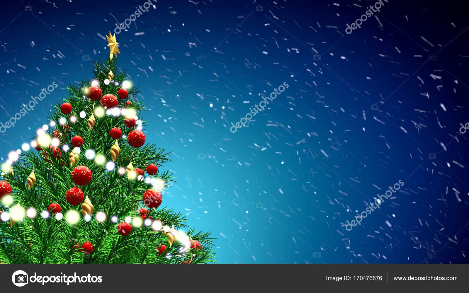 Bolas De Navidad Rojas Sobre Fondo Verde: árbol De Navidad Verde Sobre Fondo Azul Con Copos De