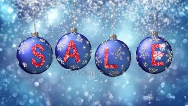 Sale banner on blue Christmas balls with round snow flake on bokeh