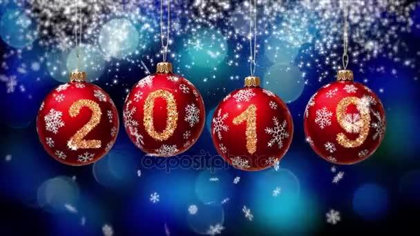 2019 Numara Glitter Noel Topları Mavi Bokeh Arka Plan üzerinde Asılı