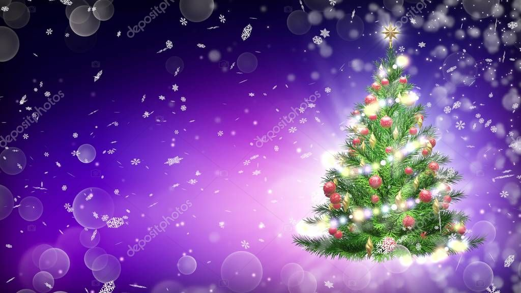 Green Christmas tree over purple background with snowflakes and red balls