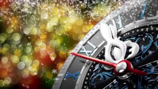 Nový rok o půlnoci - staré hodiny s hvězdami vločky a Sváteční výzdoba