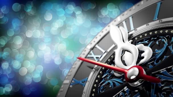 Nový rok o půlnoci - staré hodiny s hvězdami vločky a Sváteční výzdoba.
