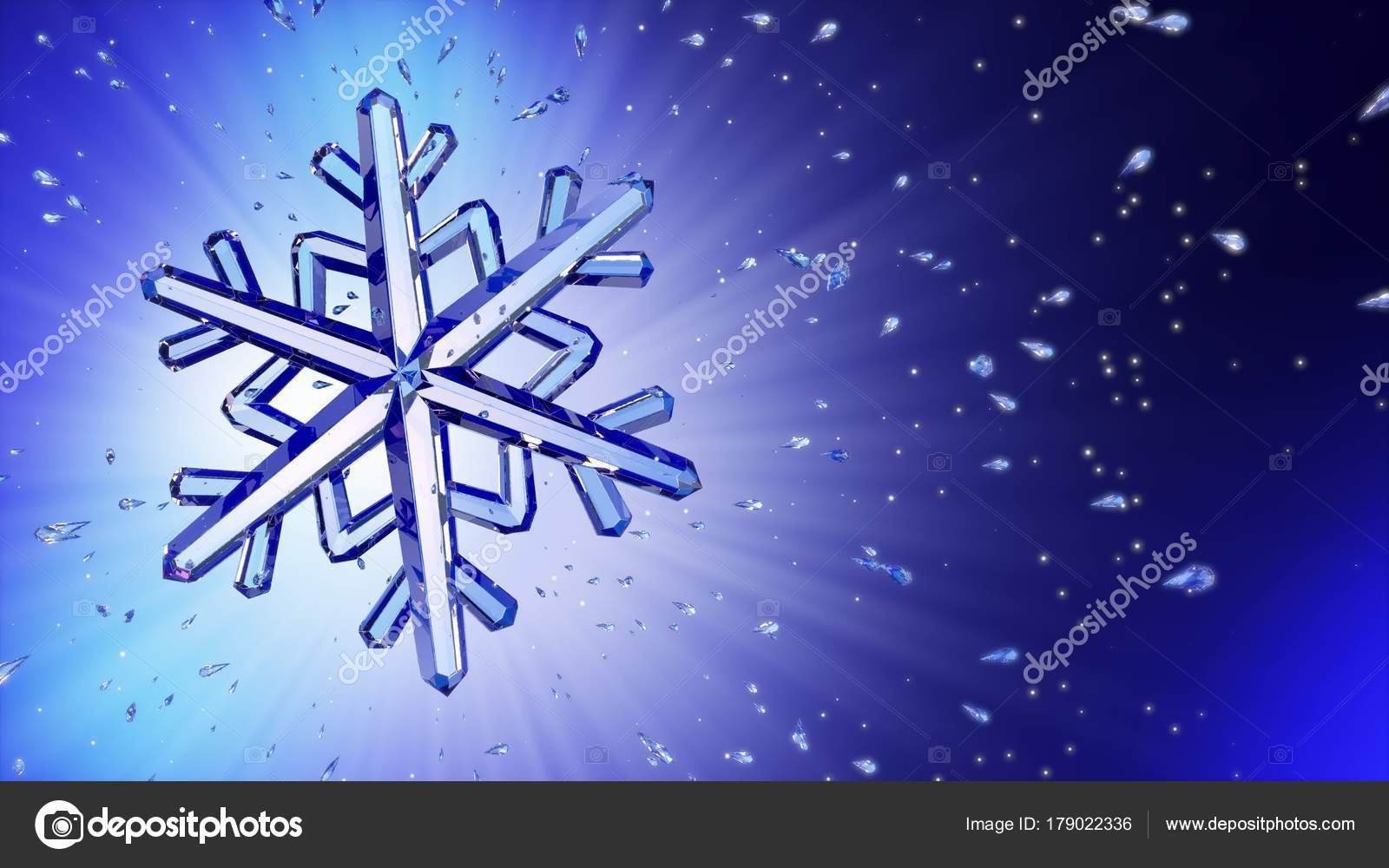 Fiocchi Di Neve Di Carta 3d : Immagine d del fiocco di neve di cristallo su sfondo blu u foto