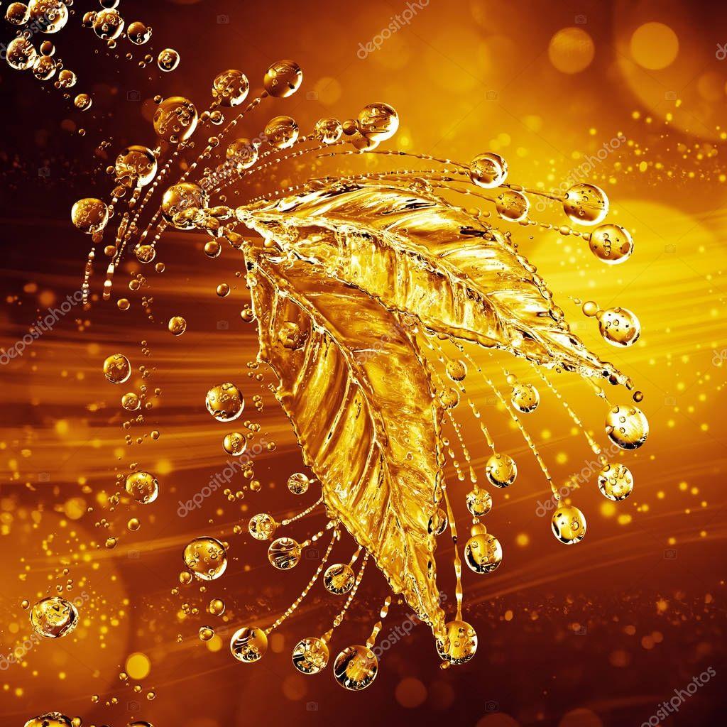 Leaf made of water splash. Gold color