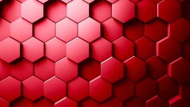Abstrakte Sechsecke Hintergrund Zufallsbewegung, rote Farbe 4k