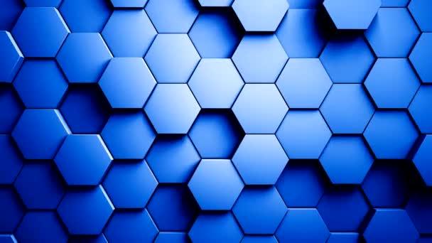 abstrakte Sechsecke Hintergrund zufällige Bewegung, blaue Farbe 4k