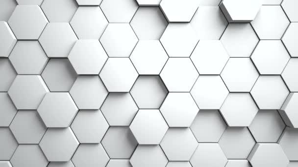 Abstrakte Sechsecke Hintergrund Zufallsbewegung. Weiße Farbe 4k