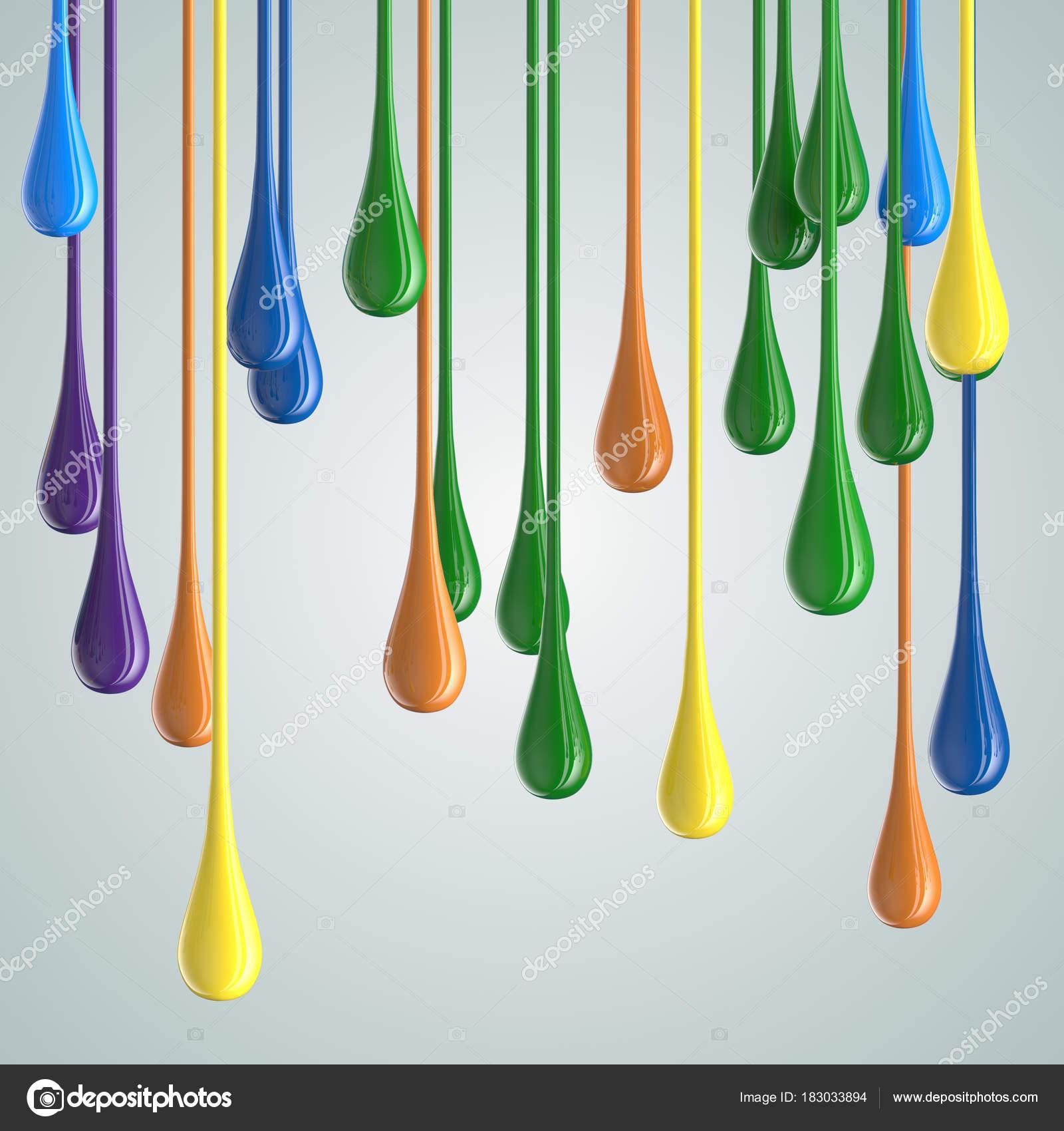pintura satinada de color 3D caer gotas — Fotos de Stock © Irochka ...