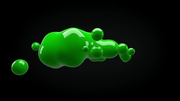 Abstract 3D render illustration - deformed figure isolated on a black background, metaball color drop